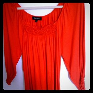 Karen Kane Orange-red 3/4 length cotton top